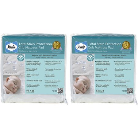 (2 Pack) Sealy Total Stain Protection Waterproof Crib and Toddler Mattress