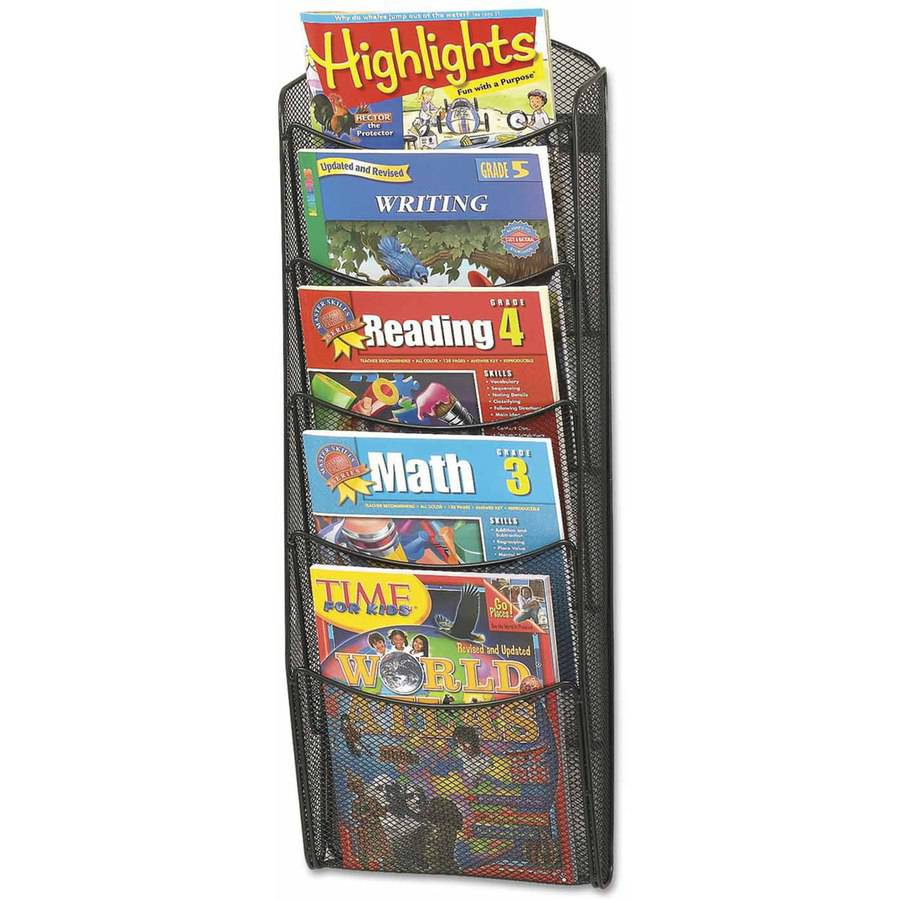 "Safco Onyx Mesh Literature Rack, 5 Compartments, 10-1/4""W x 3-1/2""D x 28-1/3""H, Black"