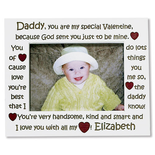 Personalized Daddy Valentine White Frame