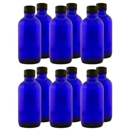 Cobalt Blue Glass Bottle - 4 fl oz w/ Cap - Pack of 12