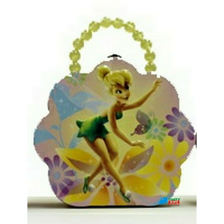 Tinkerbell Tin Box Carry All Flower Shaped Purse with Beaded Handle - Yellow](Tinkerbell Handbag)