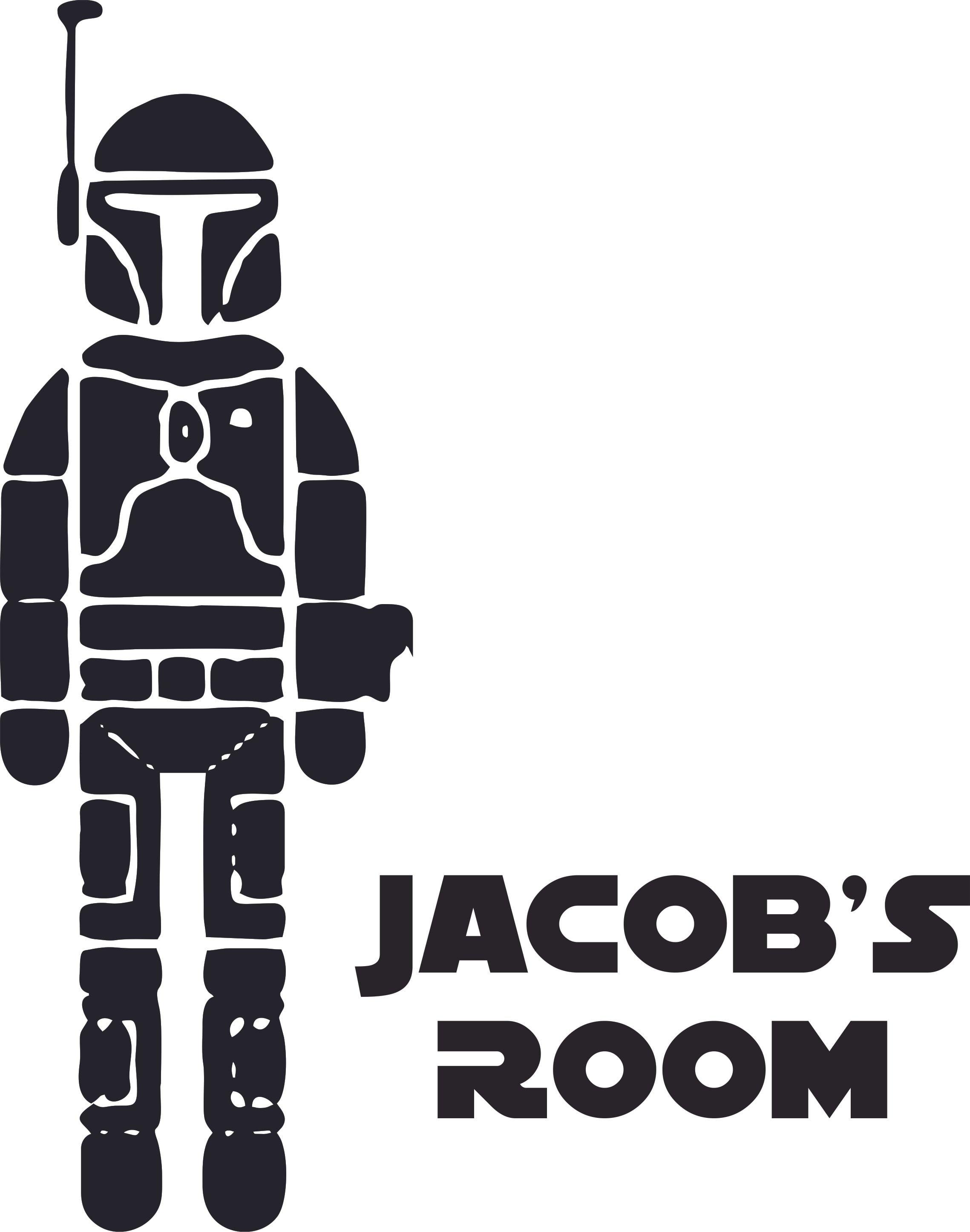 Bedroom 10x10 Size: Boba Fett Star Wars Character Design Customized Wall Art