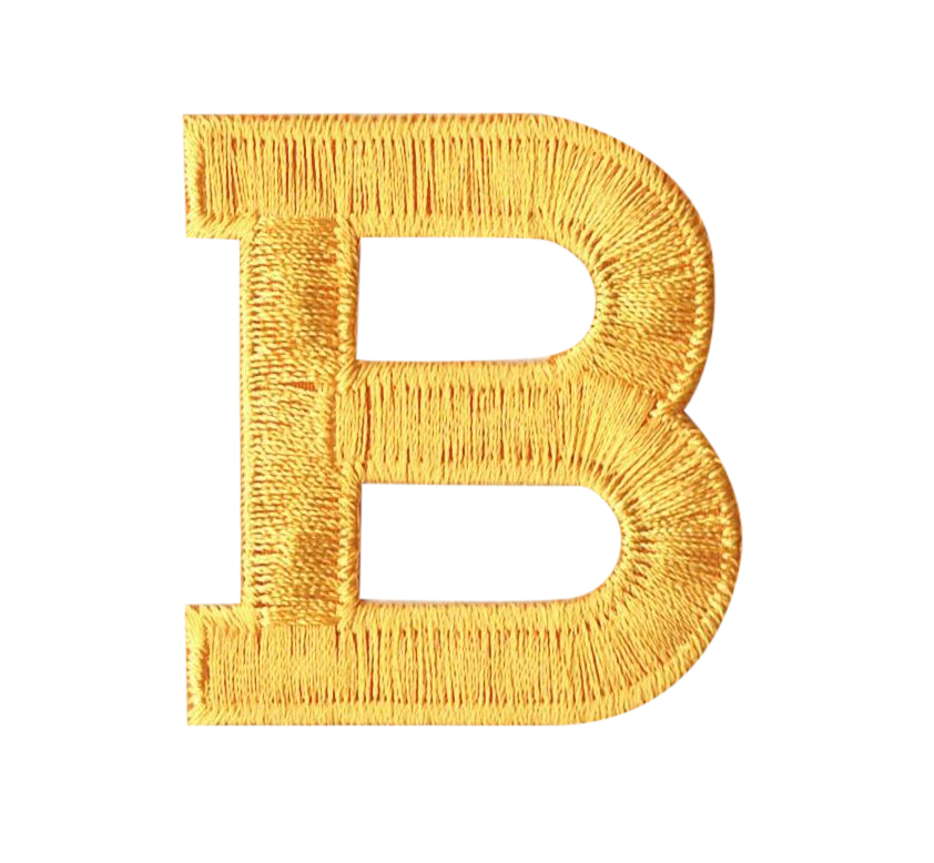 "Alphabet Letter - B - Color Yellow - 2"" Block Style - Iron On Embroidered Applique Patch"