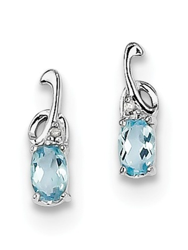 Sterling Silver 0.4IN Long 0.46ct Rhodium Plated Diamond Sky Blue Topaz Oval Post Earrings