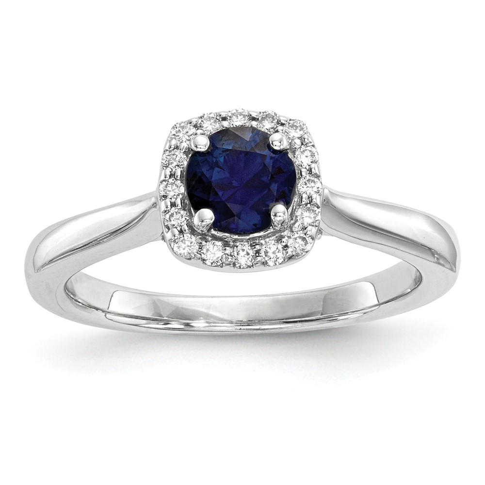 Solid 14k White Gold Diamond & Simulated Sapphire Ring (2mm) Size 4 by AA Jewels