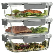 Glass Meal Prep Containers - 3-pack (35oz) 100% Leak Proof Glass Food Storage Containers, Newly Innovated Hinged BPA-free Locking lids - Great on-the-go, Freezer to Oven Safe Lunch Containers