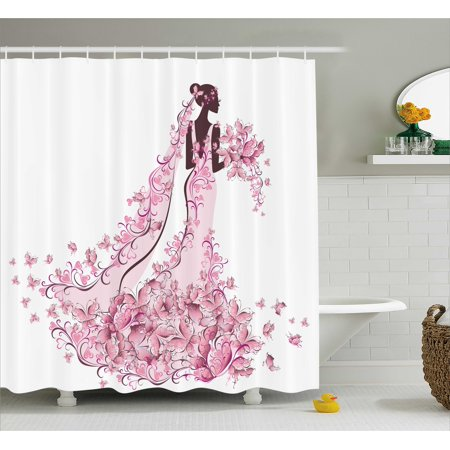 Wedding Decorations Shower Curtain Flowers Hearts Butterflies On Wedding Dress Bridal Gown Fabric Bathroom Set With Hooks 69w X 84l Inches Extra