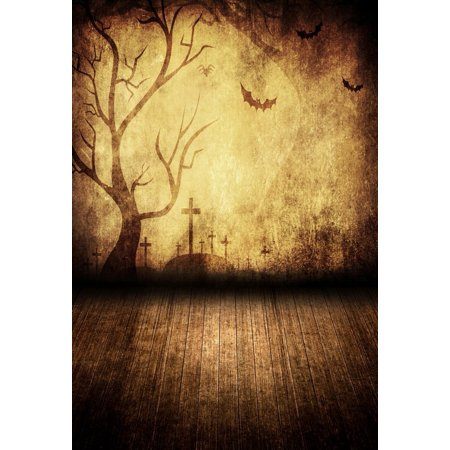 HelloDecor Polyster 5x7ft Spooky Halloween Scary Graves Bats Tree Silhouette Wood Floor Photography Backdrops Indoor Studio Backgrounds Photo Props (Scary Tree Silhouette Halloween)
