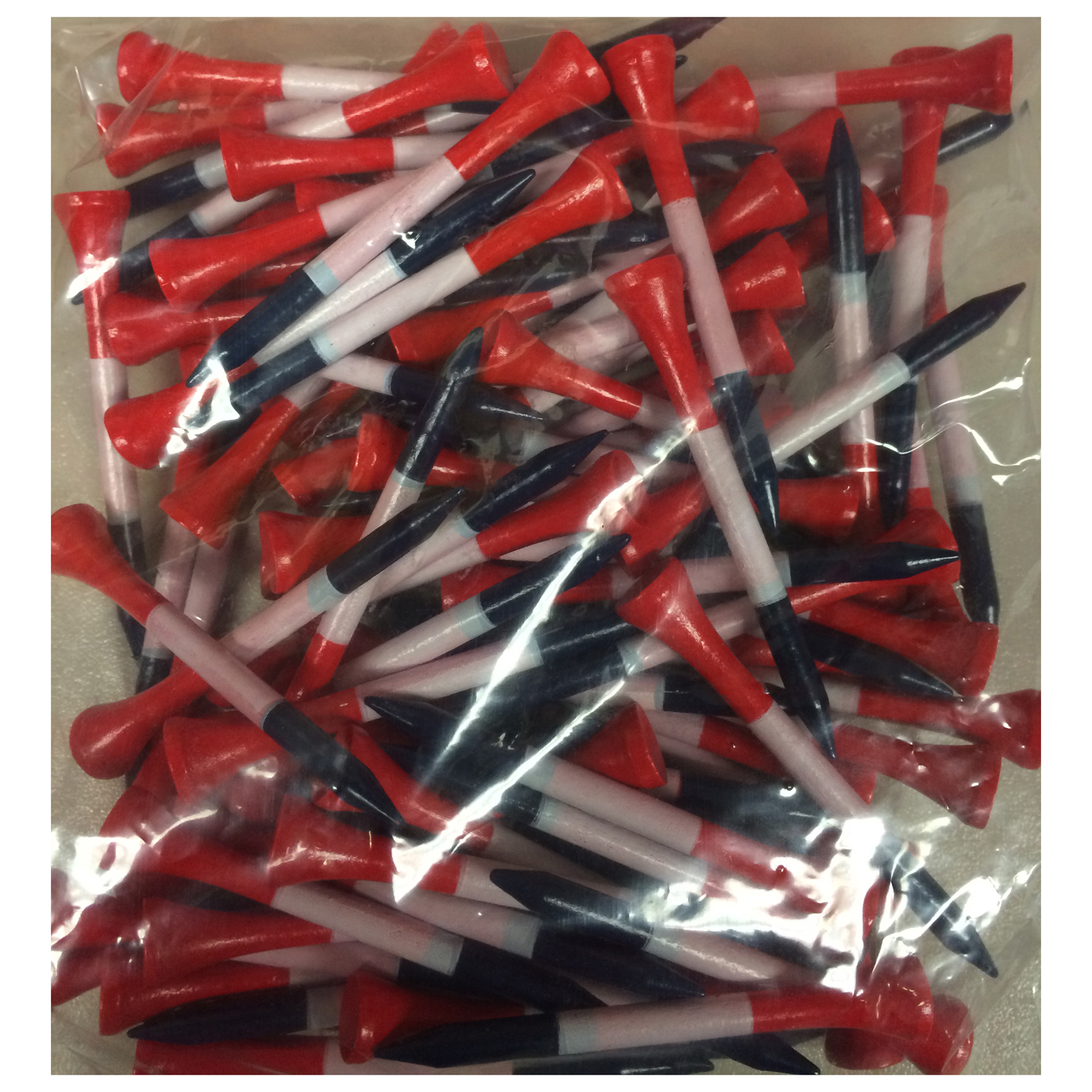 """2 3/4"""" Patriotic Red White & Blue Wooden Golf Tees - Pack of 500"""