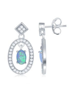 06917f512 Product Image Sterling Silver Open Oval with Center Opal and CZ Border  Earrings. Beaux Bijoux