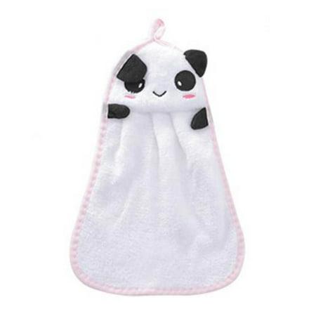 FAGINEY Coral Fleece Cartoon Hanging Hand Towel Absorbent Bathroom Kitchen Duster Towel Wiper, Hand Towel, Lovely Hand Towel (Panda Hand Towel)