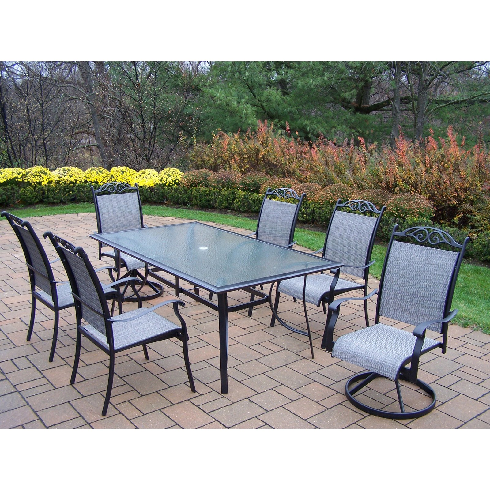 Oakland Living Cascade 7 Piece Sling Patio Dining Set
