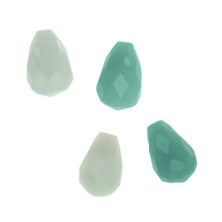 Aqua Blue Amazonite Gemstone Faceted Teardrop Briolette Beads 9x6mm (4)