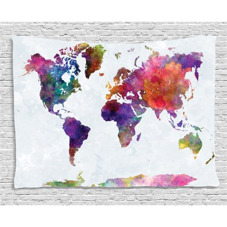 Watercolor Tapestry  Multicolored Hand Drawn World Map Asia Europe Africa America Geography Print  Wall Hanging For Bedroom Living Room Dorm Decor  60W X 40L Inches  Multicolor  By Ambesonne