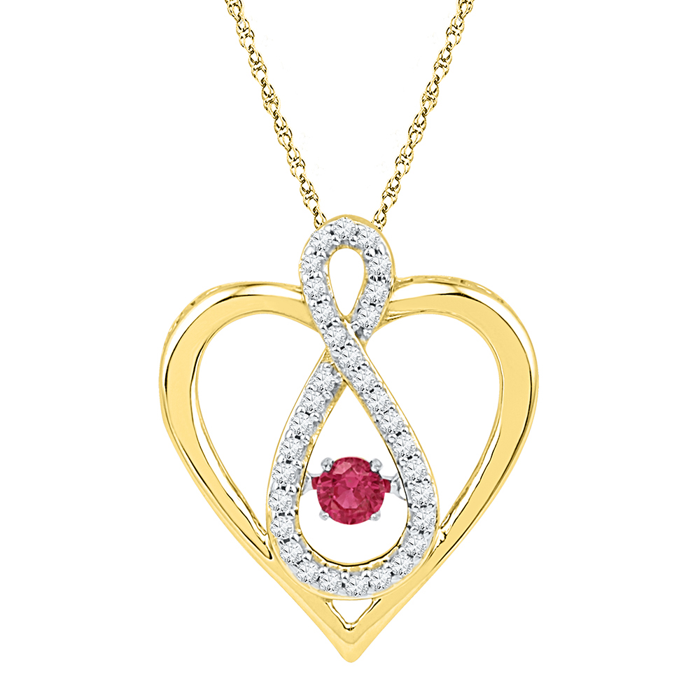 10kt Yellow Gold Womens Round Lab-Created Ruby Diamond Infinity Heart Pendant 1 4 Cttw by BocaGold