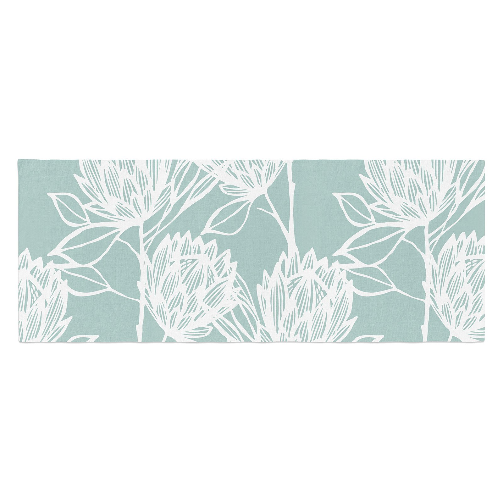 Gill Eggleston Protea Jade Flowers Bed Runner by Kess InHouse