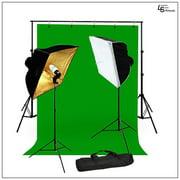 "5' x 10' Chromakey Green Screen Muslin Backdrop Kit with 24"" x 24"" Softbox Lighting and 45W CFL Bulbs by Loadstone Studio WMLS0915"