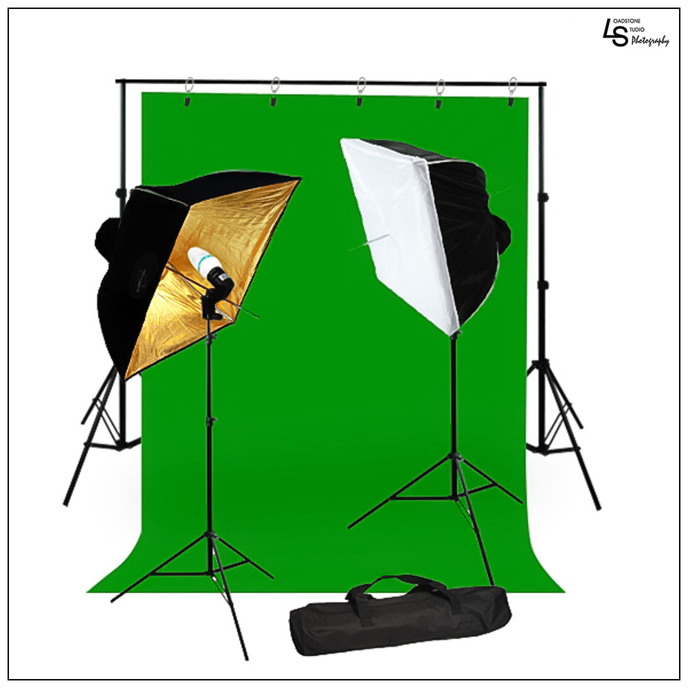 "5' x 10' Chromakey Green Screen Muslin Backdrop Kit with 24"" x 24"" Softbox Lighting and 45W CFL Bulbs by Loadstone Studio WMLS0915"