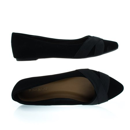 Sequel75M Black nubuck by Bamboo, Pointed Toe Flat Pump w Matching Straps ()