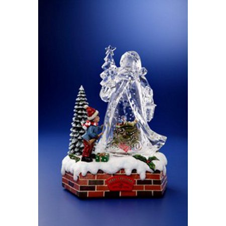 Pack of 2 Icy Crystal Animated Musical Christmas Santa Snow Globe 9.75""