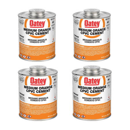 Oatey 32 Oz. CPVC Pipe Hot and Cold Systems Solvent Cement Glue, Orange (4 Pack)