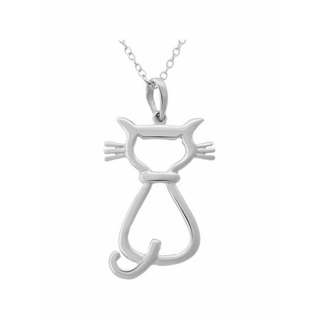 Cat Turquoise Pendant - Sterling Silver Cat Outline Pendant, 18