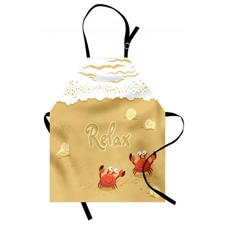 Holiday Print Kitchen Apron (Crabs Apron Funny Summer Card with Cute Crabs on the Beach Holiday Vacation Theme Print, Unisex Kitchen Bib Apron with Adjustable Neck for Cooking Baking Gardening, Sand Brown and White, by Ambesonne)