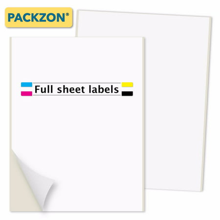 Self Adhesive Labels (PACKZON Shipping Labels with Self Adhesive, Rounded Corner, For Laser & Inkjet Printers, 8.5 x 11 Inches, White Matte, Pack of 100)
