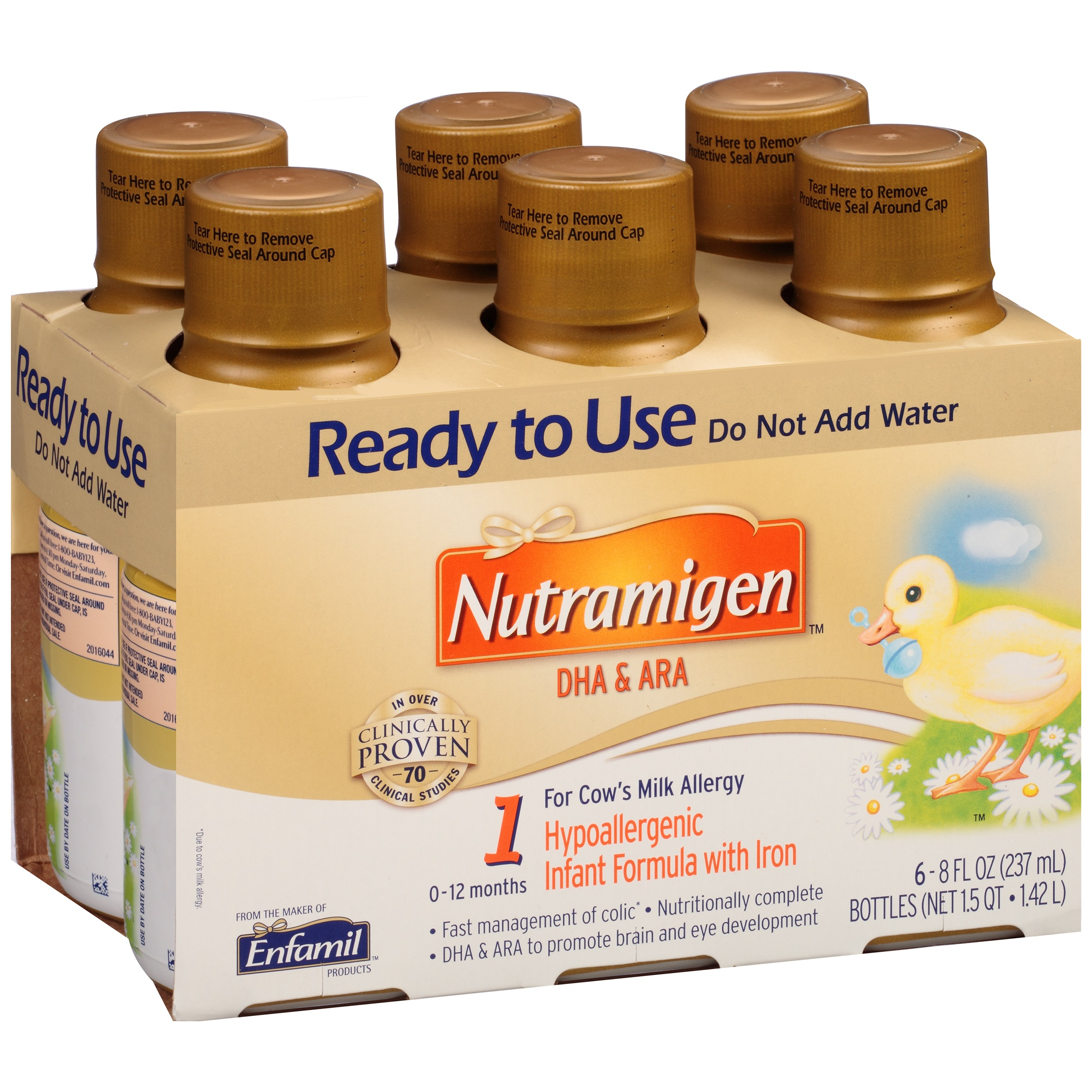 Nutramigen Hypoallergenic Ready to Use Infant Formula 6-8 fl. oz. Bottles