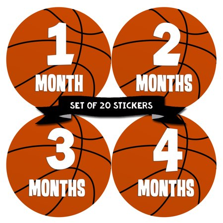 Baby Monthly Milestone Stickers - First Year Set of Baby Boy Month Stickers for Photo Keepsakes - Shower Gift - Set of 20 - Basketball