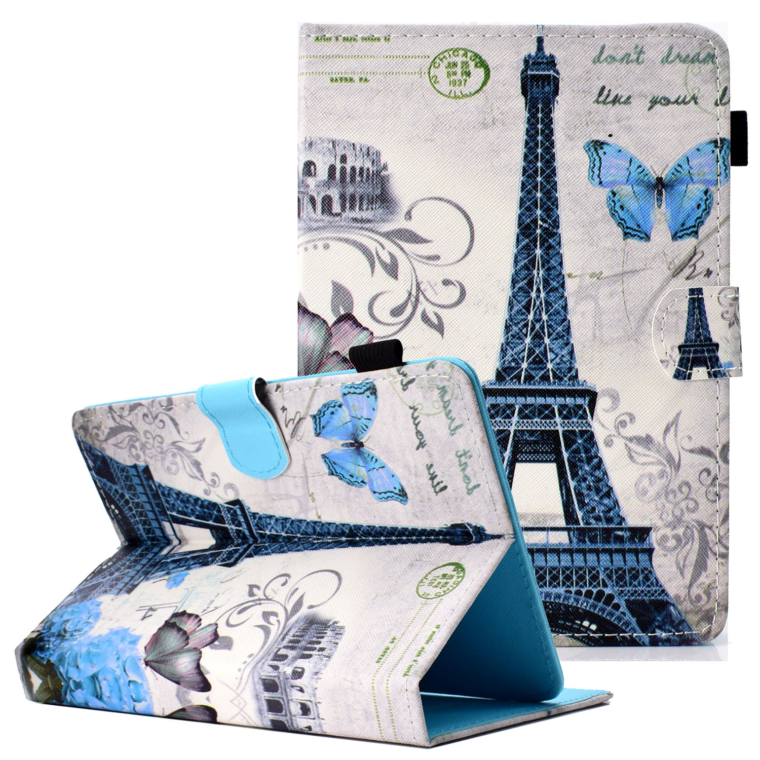 "Goodest Universal 8 Inch Tablet Case, Slim Fit Folio Protective Stand Wallet Cover for 6.5-7.5"" Tablet 8"" Touchscreen/iPad Mini/Galaxy Tab A/E 8.0/Fire HD 8/RCA /Chrome Nextbook iView,Eiffel Tower"