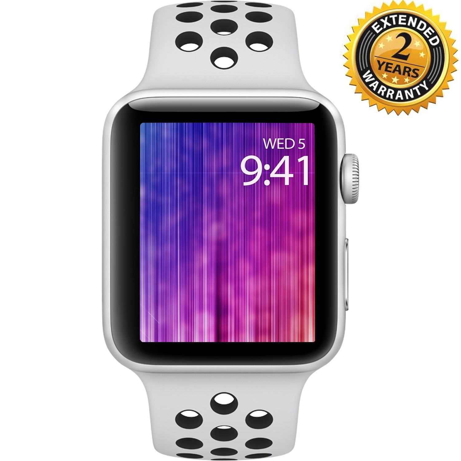 Apple Watch Nike+ Series 3 38mm Smartwatch (GPS Only, Silver Aluminum Case, Pure Platinum/Black Nike Sport Band Band) with 2 Year Extended Warranty