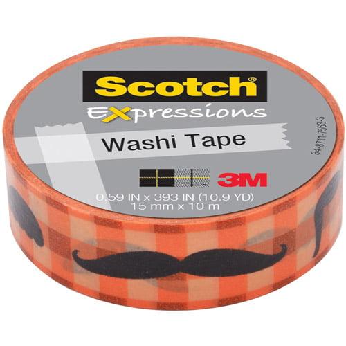 "Scotch Expressions Washi Tape, .59"" x 393"", Moustache"