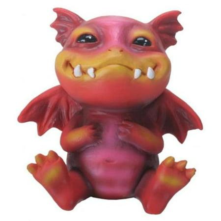 Dragon Statuette - Red and Orange Smiling Baby Dragon Bo Figurine Statuette Fairy Tale Fantasy New