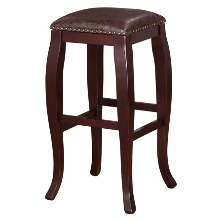 Linon San Francisco Square Top Bar Stool  Brown  30 Inch Seat Height