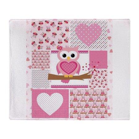 "CafePress - Pink Owl Patchwork - Soft Fleece Throw Blanket, 50""x60"" Stadium Blanket"