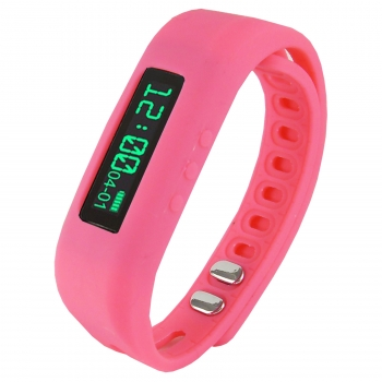 "Supersonic 0.91"" Fitness Wristband With Bluetooth Pedometer, Calorie Counter and More-Pink"