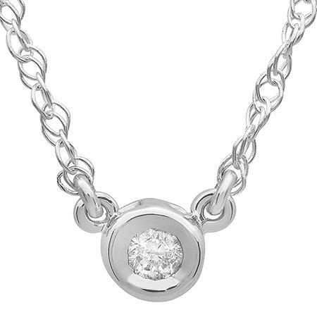 0.25 Carat (ctw) 14K Gold Round Diamond Ladies Bezel Set Solitaire Pendant 1/4 CT