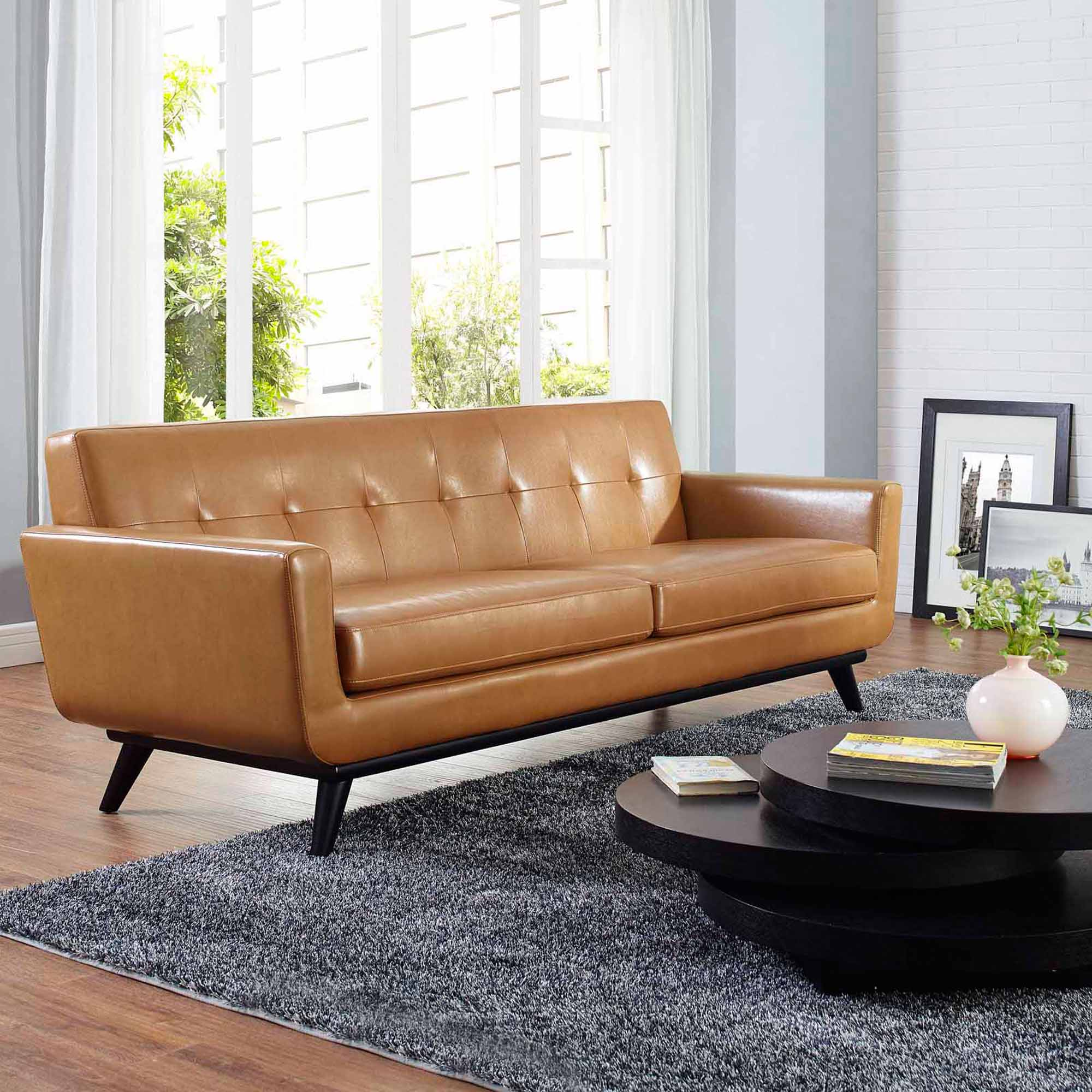 modway engage bonded leather sofa with wood legs multiple colors walmartcom. Interior Design Ideas. Home Design Ideas