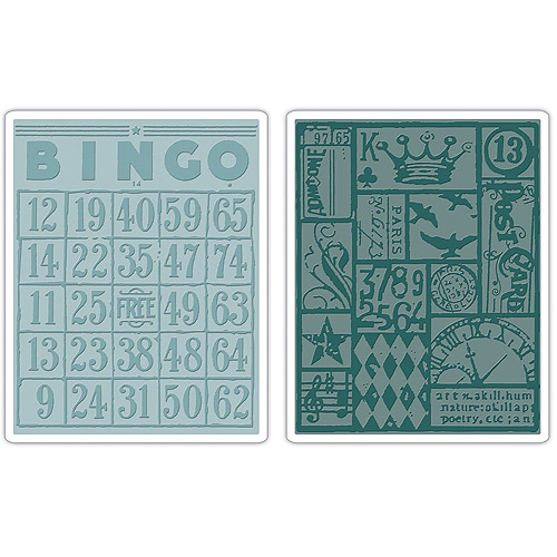 Sizzix Texture Fades Embossing Folder, Bingo and Patchwork Set