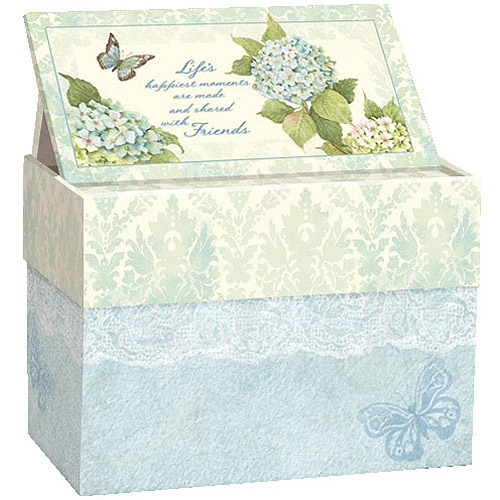 Lang Blue Hydrangea Recipe Card Box with Recipe Cards