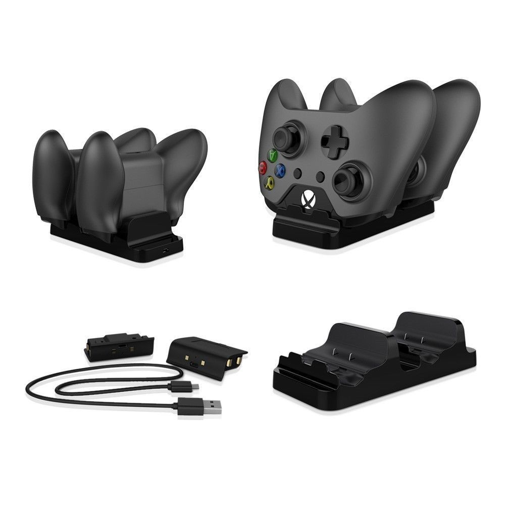 Xbox One Charger Dual Dock Charging Station Base with Two Rechargeable Batteries and USB Cable for Xbox One Wireless Controller