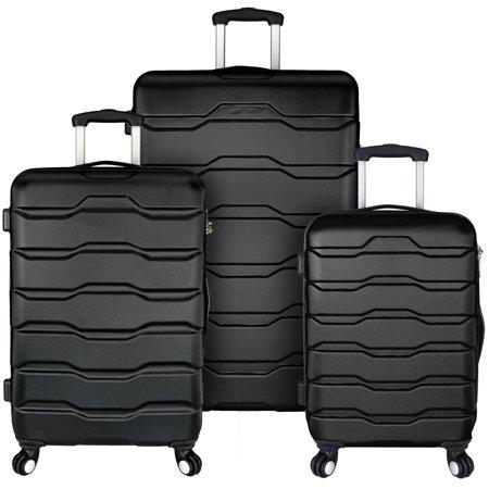 Omni 3-Piece Hardside Spinner Luggage Set, Black