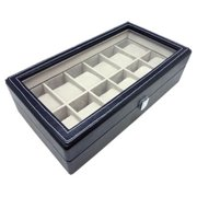 Leather Heiden Premier Black Leather Watch Box for 12 Watches