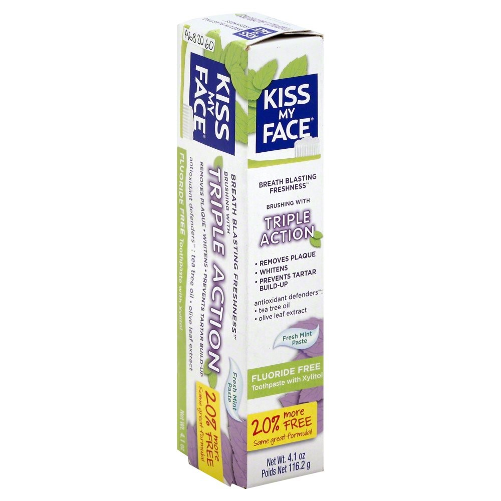 Kiss My Face Triple Action Fluoride-Free Toothpaste, Fresh Mint, 4.1 Oz