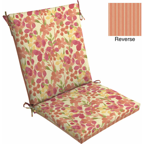 Mainstays Outdoor Dining Chair Cushion Paintbrush Floral