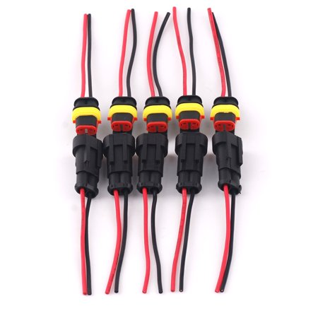 - 5 Kit 2 Pin 2-Way Car Waterproof Electrical Connector Plug Wire