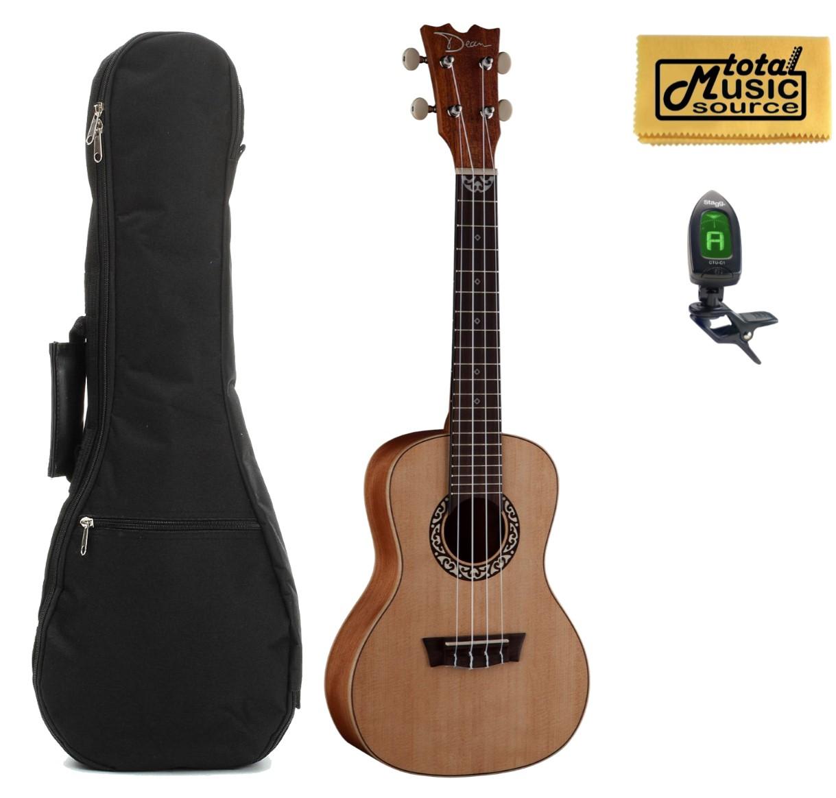 Dean Guitars Concert Spruce Ukulele, Satin Natural w/Padded Gigbag,Tuner & PC ,UKEDCSPR PACK