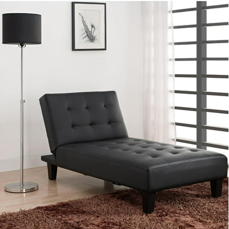 Dhp Julia Convertible Futon Chaise Lounger Black Faux Leather