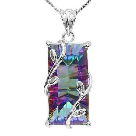 ON SALE - Fantasy Rainbow Fire Genuine Mystic 16CT Emerald Cut IOBI Precious Gems Pendant Necklace Rainbow Fire Mystic Emerald C